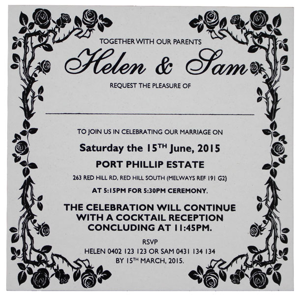 Square Size (145mm X 145mm) Wedding Invitations