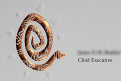 foil stamped and embossed business card