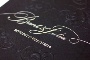 foil stamped and embossed wedding invitation