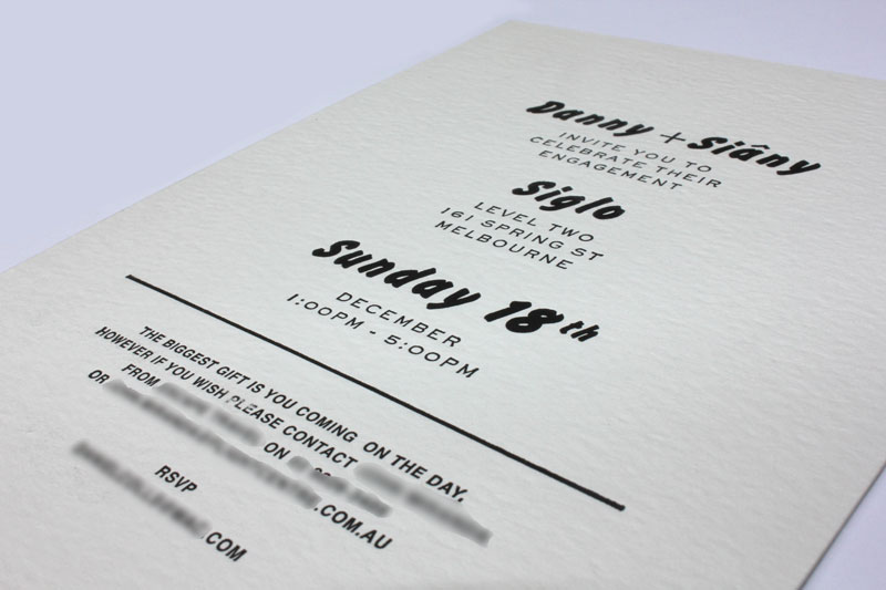 Letterpress printing enhance print pty ltd letterpress wedding invitation reheart Choice Image